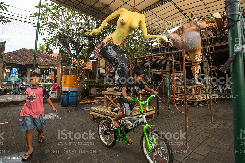 Local people during built Ogoh-ogoh are statues stock photo