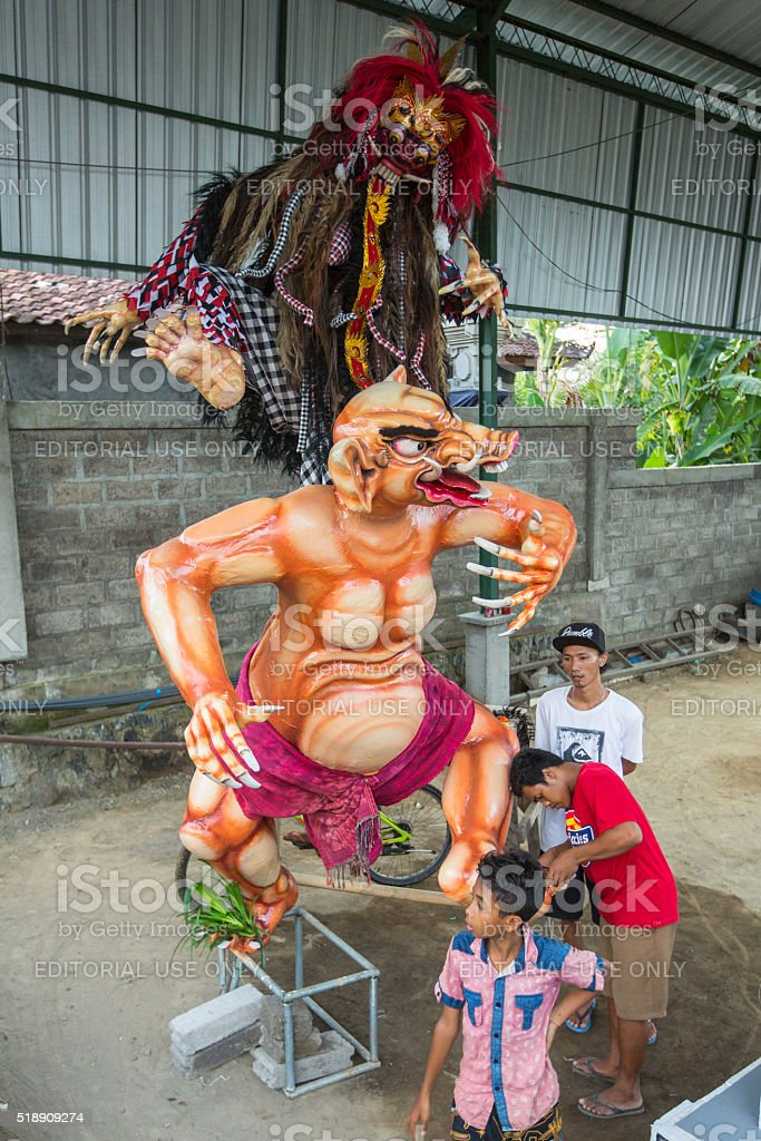 Local people during built Ogoh-ogoh stock photo