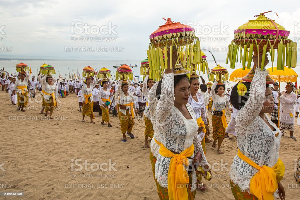 Local people during performed Melasti Ritual stock photo