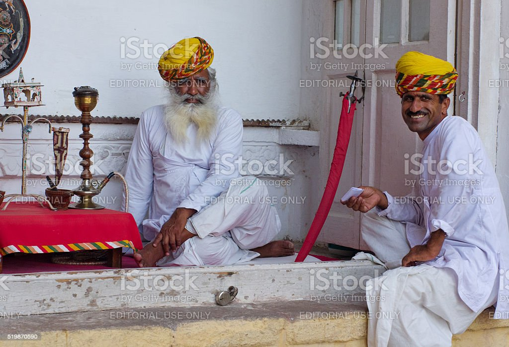 Local people in the Mehrangarh Fort in Jodhpur, India. stock photo