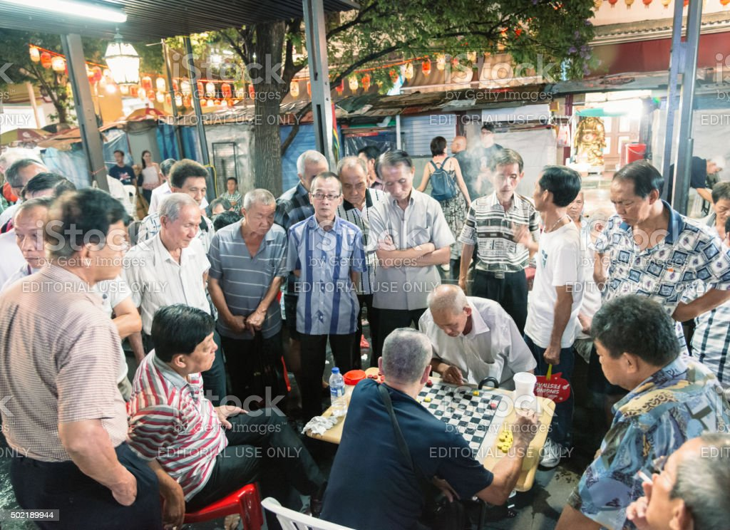 Local people play traditional Chinese chess, Singapore stock photo