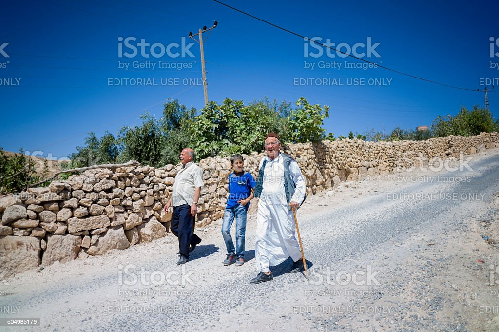 local people walking near Dara ruins at nusaybin mardin turkey stock photo