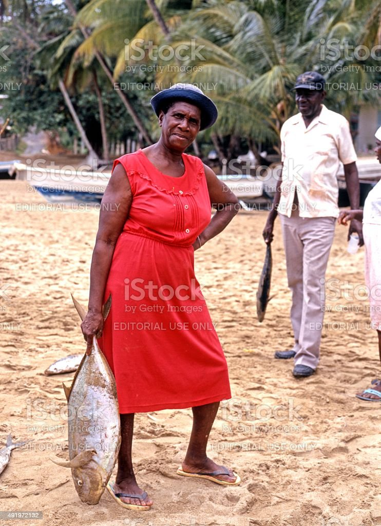 Local people with freshly caught fish. stock photo