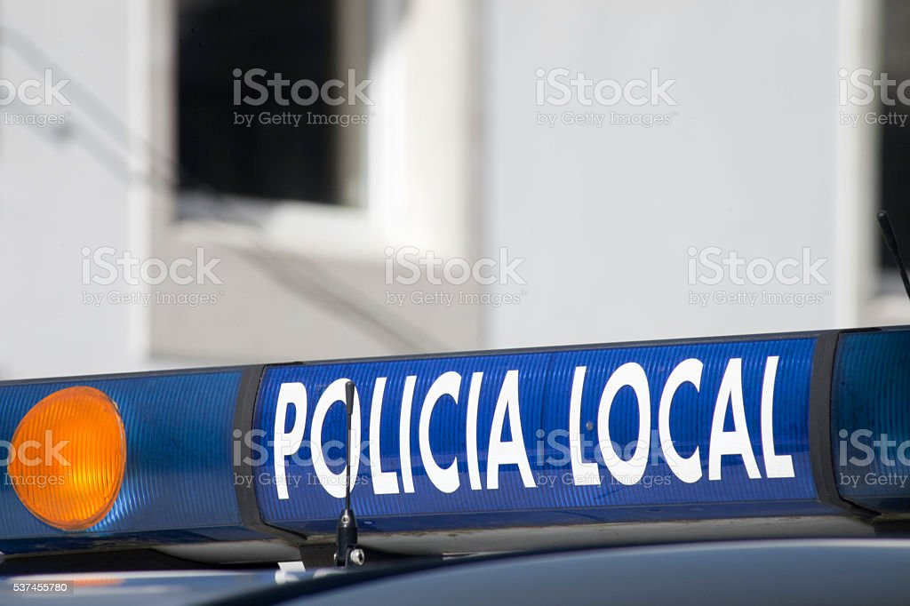 Local police car sign. stock photo