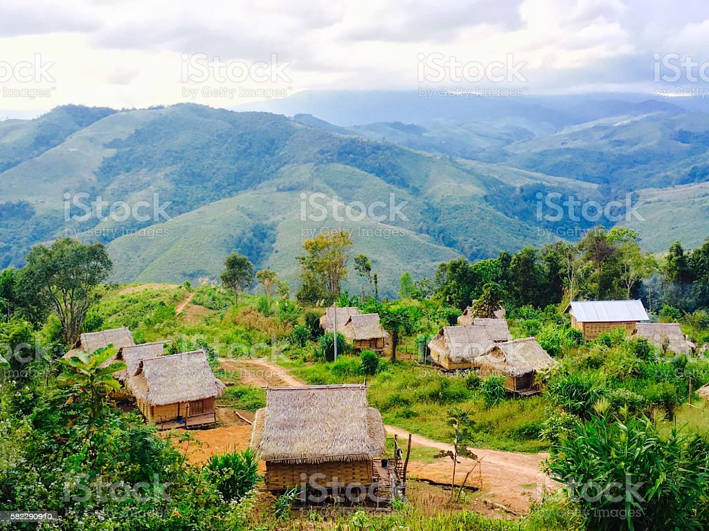 Local rural houses with mountains background stock photo
