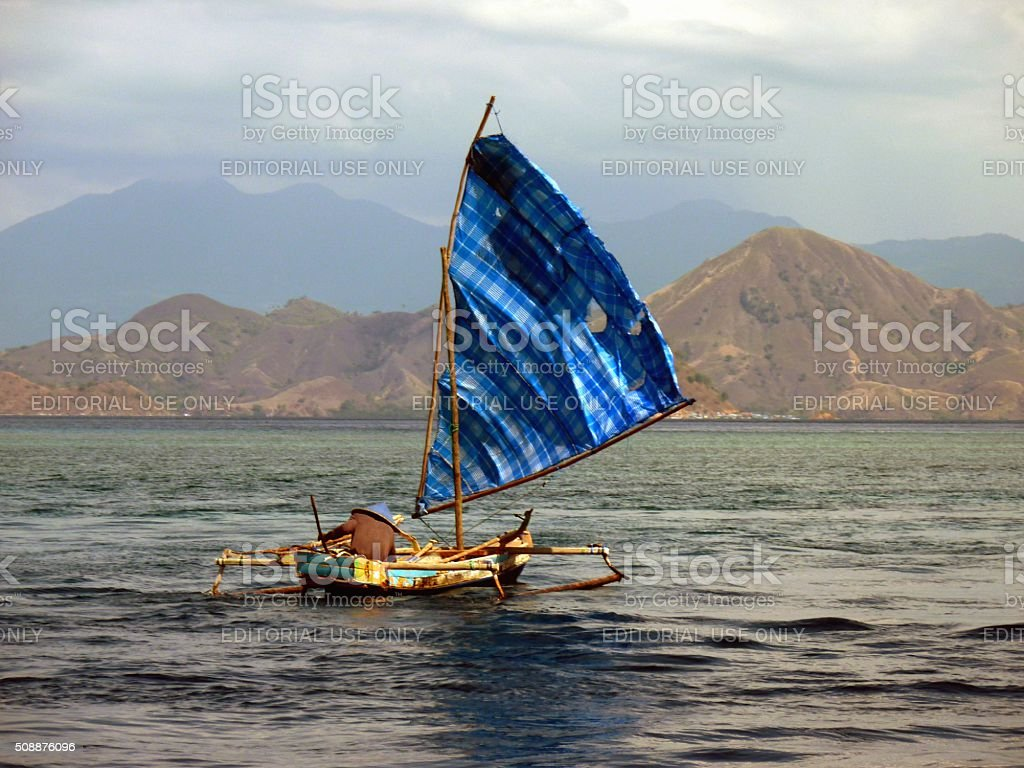 Local sailor on Flores sea, Komodo National Park - Indonesia stock photo