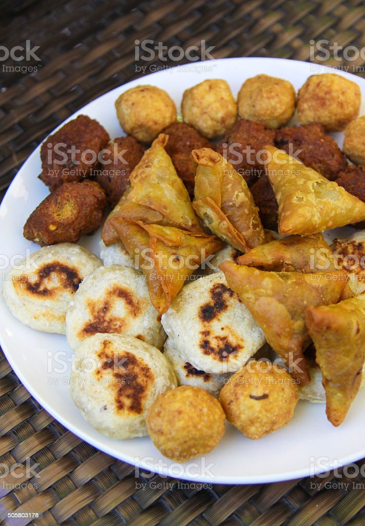 Local Samosas and Fried finger food stock photo