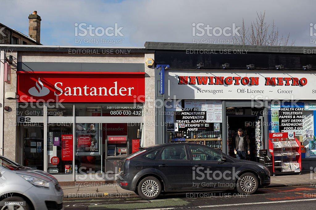 Local Santander bank branch in Edinburgh stock photo