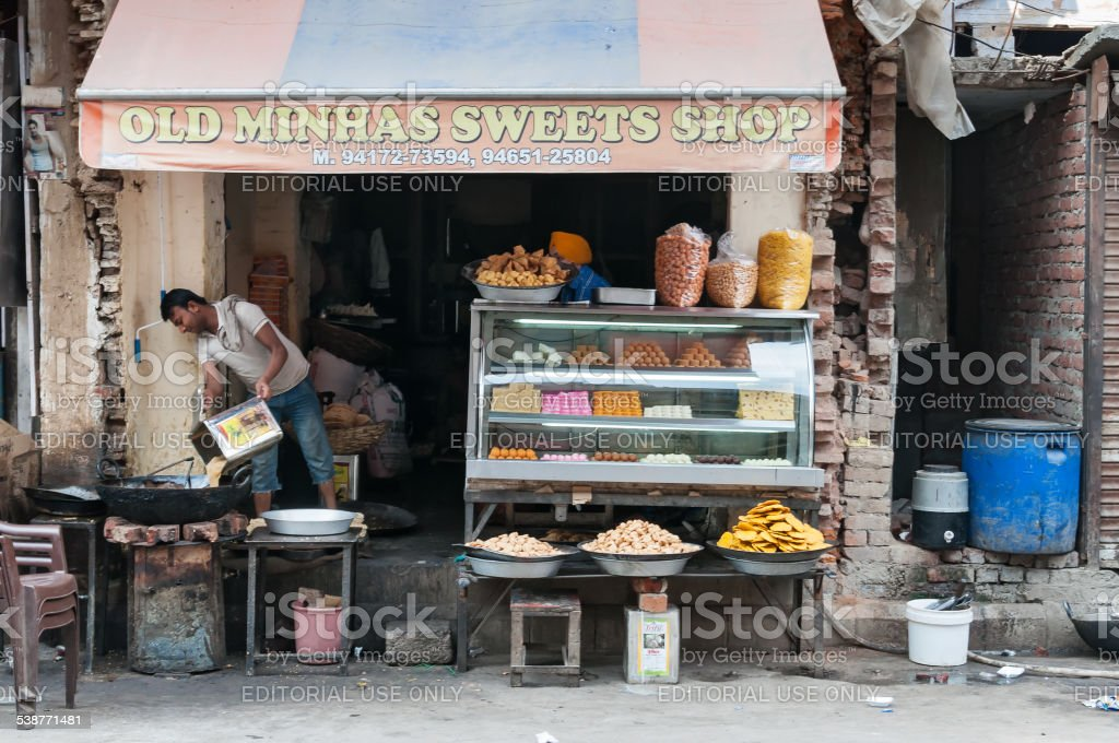 Local sweet and snack shop in Amritsar stock photo
