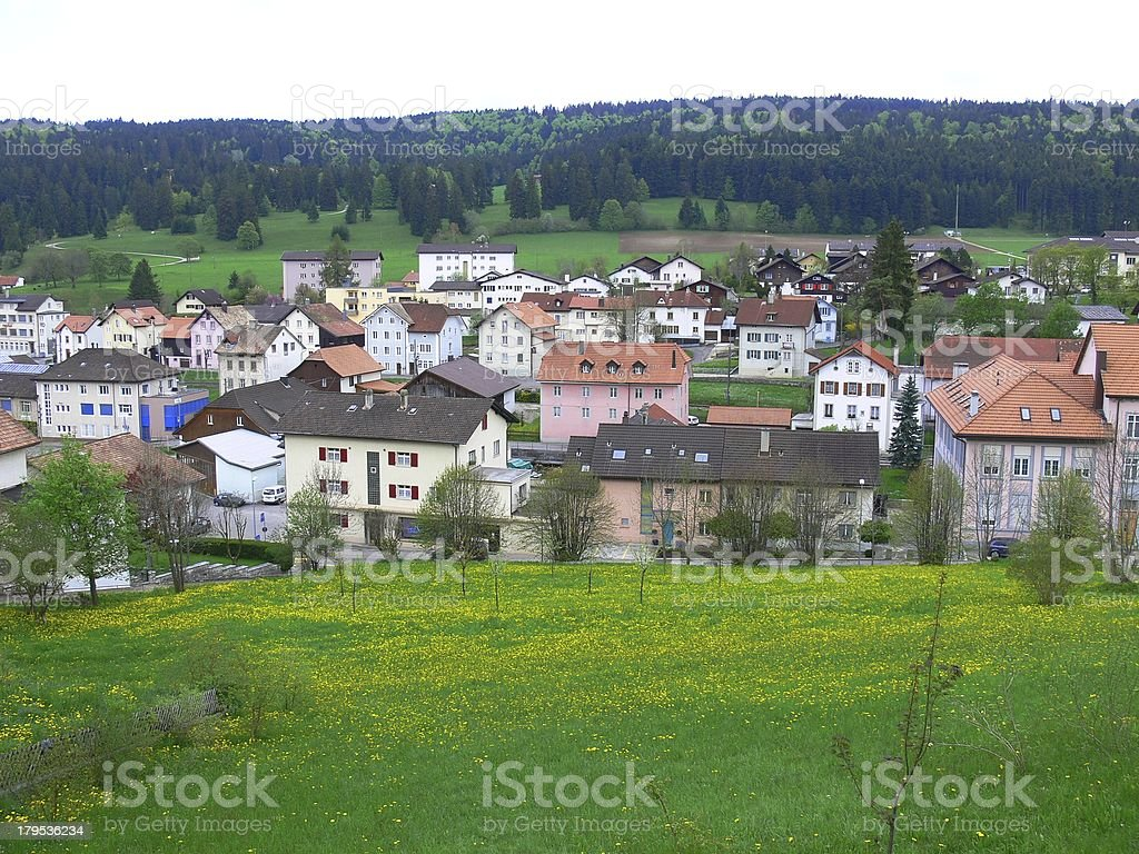local swiss village near The Mountain in Switzerland royalty-free stock photo