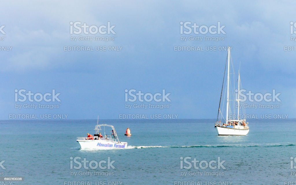 Local Tourist attraction boats just off Magic Island, Ala Moana Beach, Honolulu stock photo