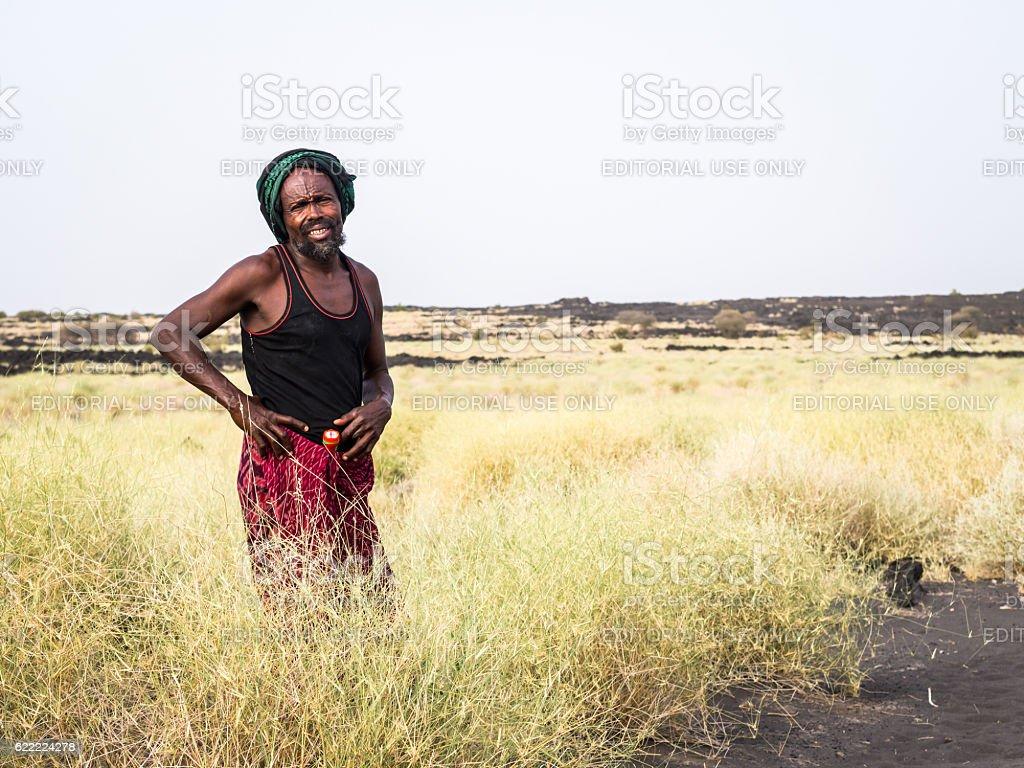 Local tourist guide in Afar region, Ethiopia stock photo