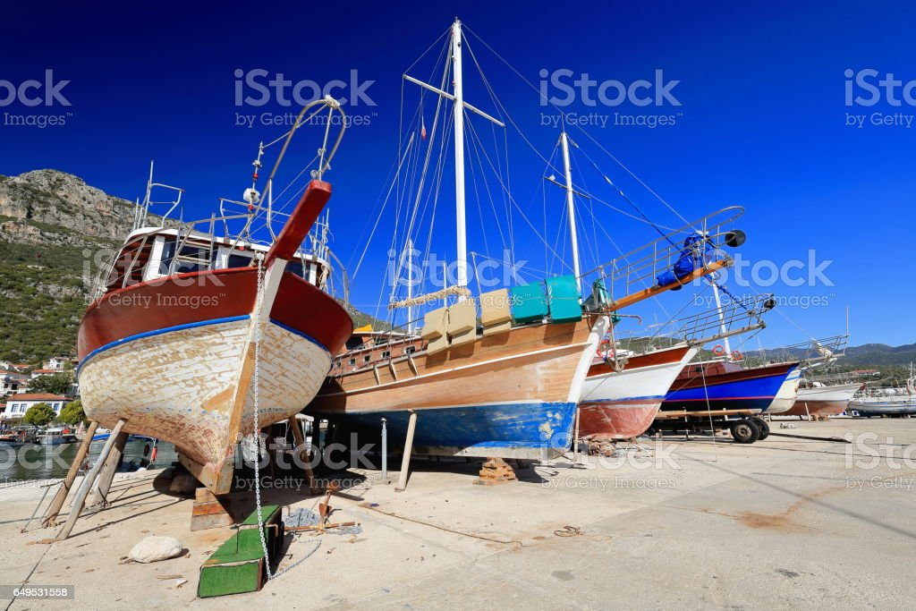 Local touristic ships stranded on the quay. Kas-Turkey. 1774 stock photo