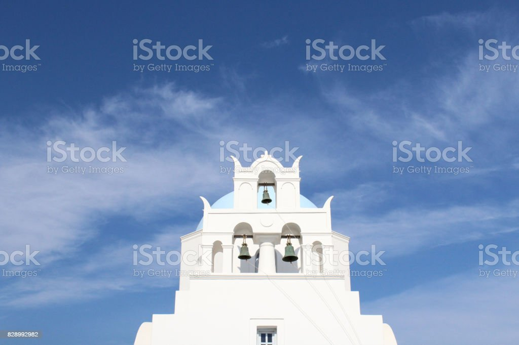 Local Traditional Santorini Church with Bells stock photo
