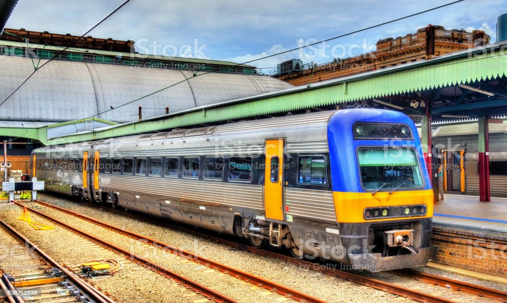 Local train at Sydney Central Station stock photo