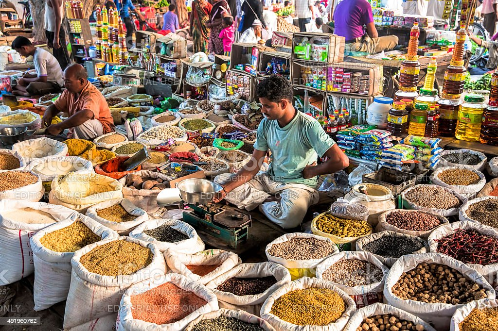 Local Vegetable and Grocery market in India stock photo