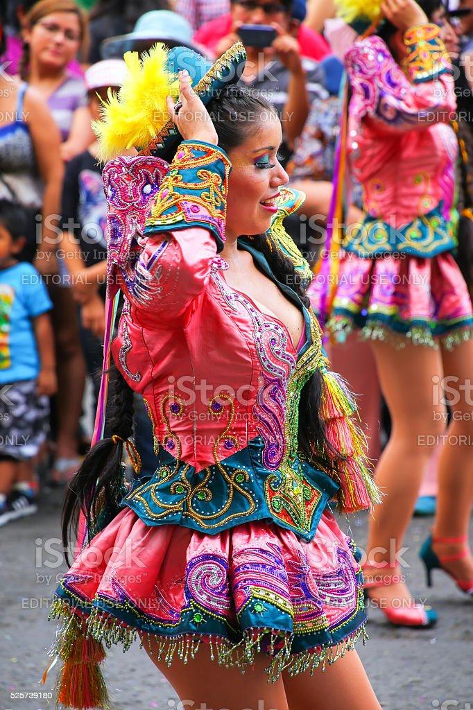Local woman dancing in Lima, Peru stock photo