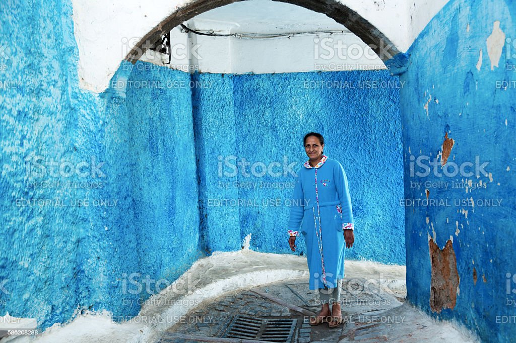 Local woman walking in alley, Kasbah Des Oudaias,  Rabat, Morocco stock photo