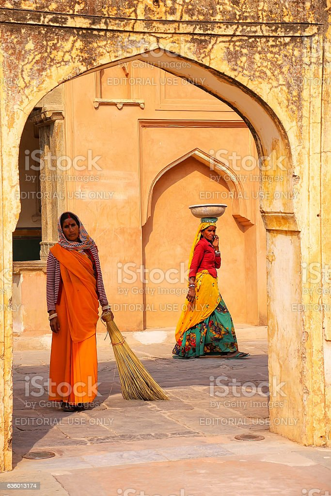 Local women working in the fourth courtyard of Amber Fort stock photo