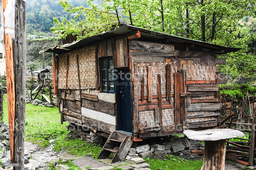 Local wooden house stock photo