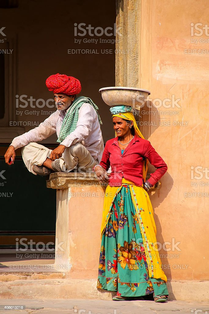 Local workers resting in the fourth courtyard of Amber Fort stock photo