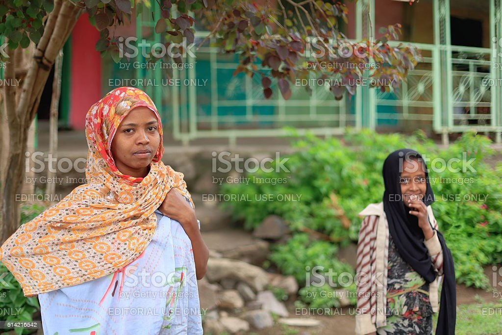 Local young girls in the khat market. Degan town-Ethiopia. 0114 stock photo