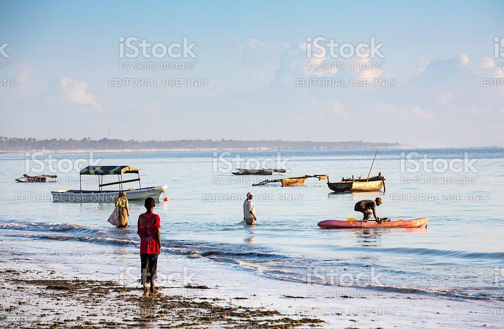 Local Zanzibar People Morning Activities stock photo