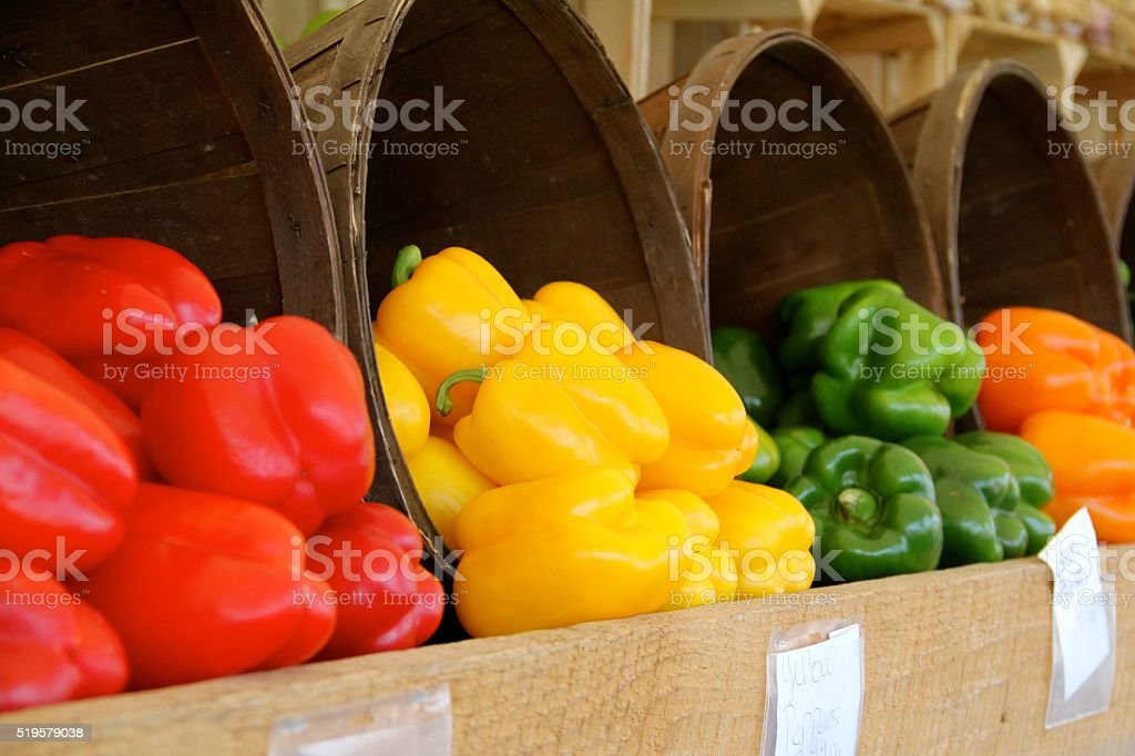 Locally Grown Peppers in Bushels stock photo