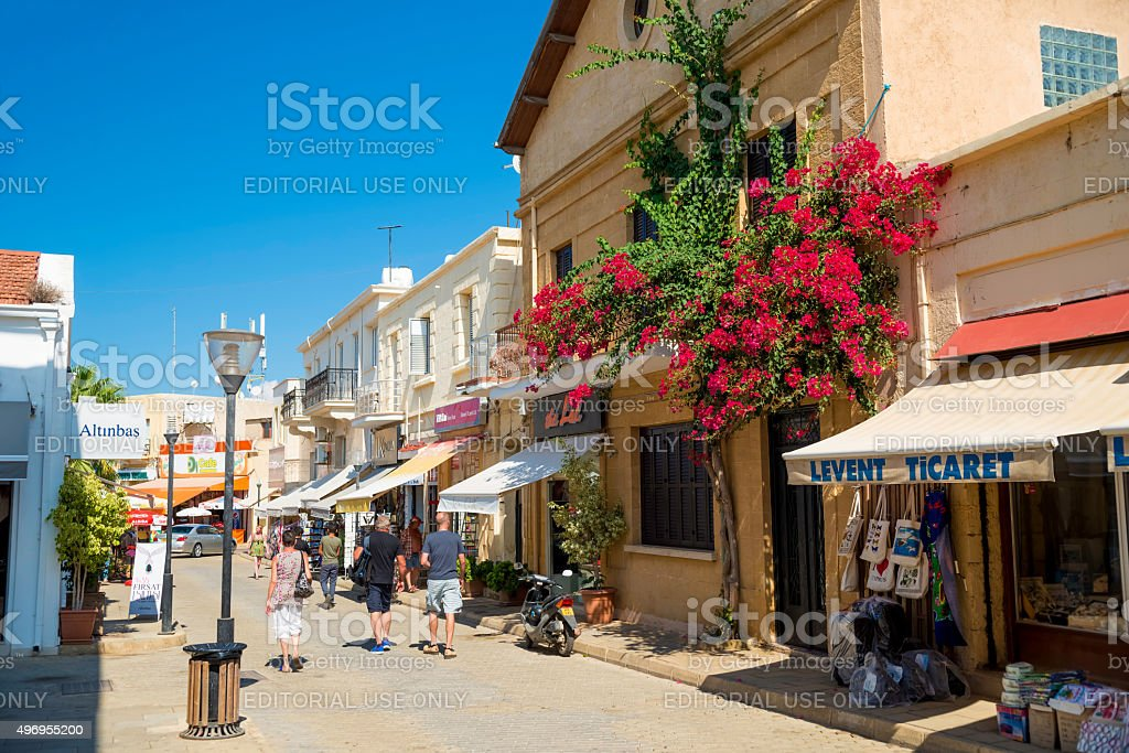 Locals and tourists walking on famous street Istikal in Famagusta. stock photo