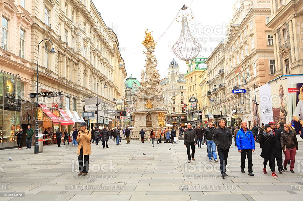 Locals and Visitors on Graben Street in Vienna stock photo