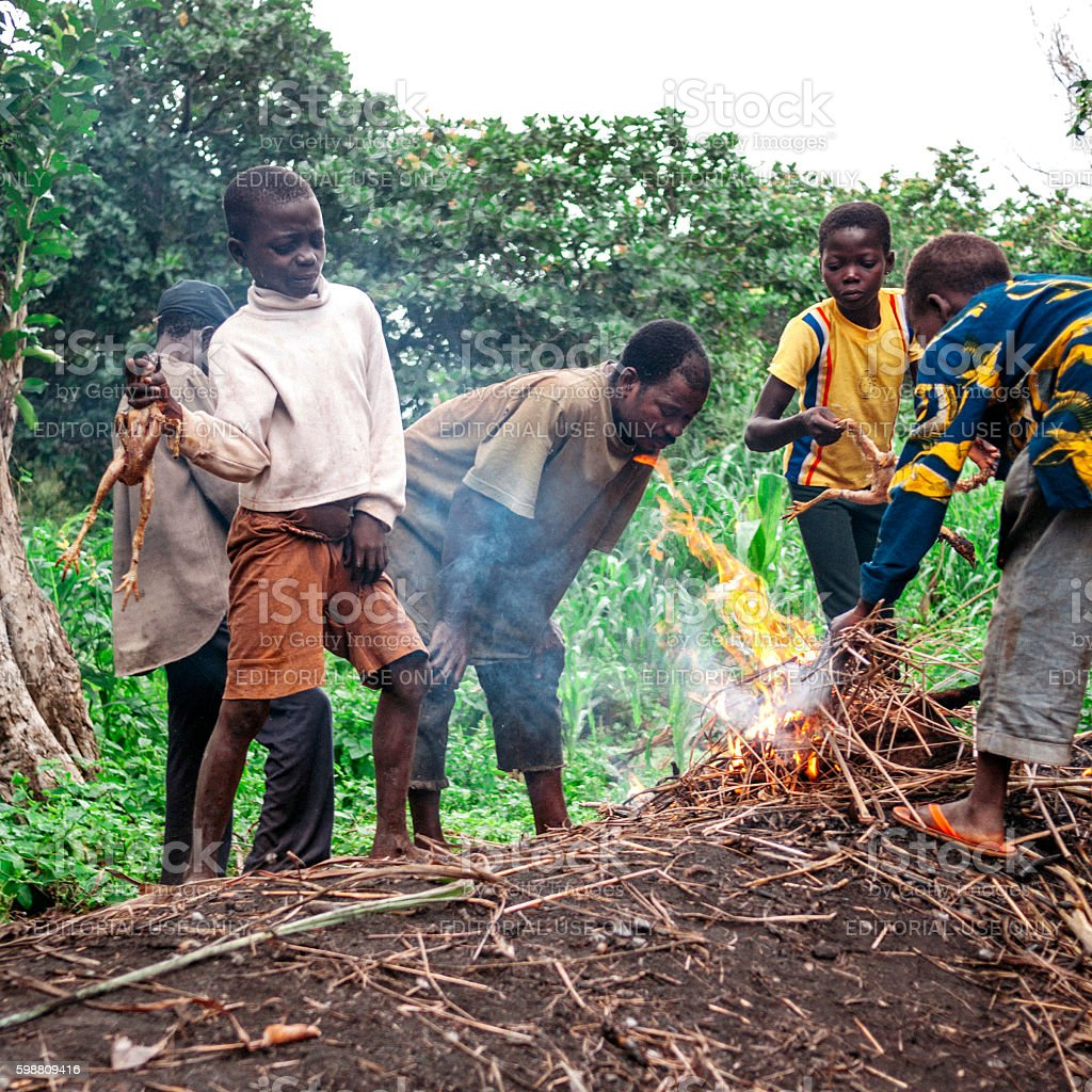 Locals cooking chicken. Benin, West Africa. stock photo