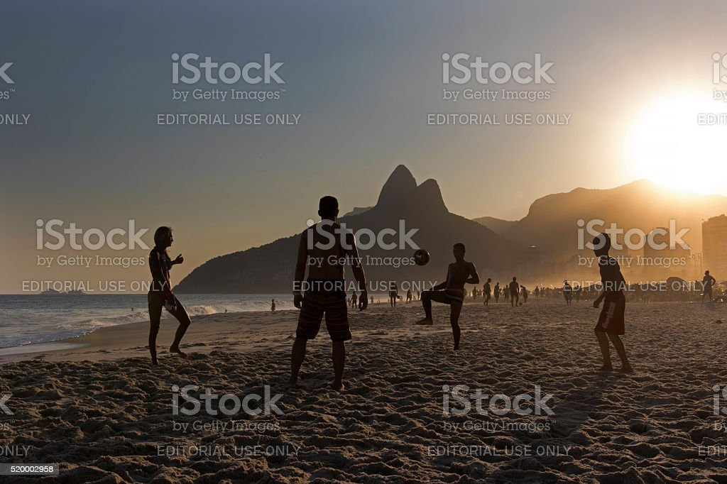 Locals Playing Beach Football in Ipanema Beach stock photo