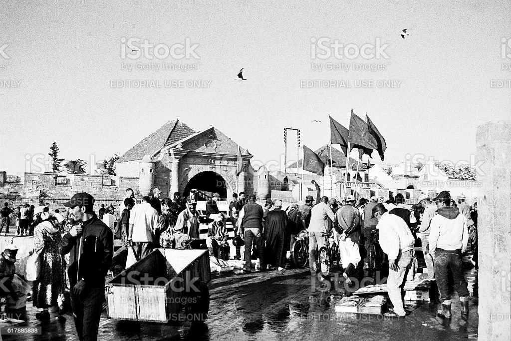 locals selling fish in essaouira fish market morocco stock photo