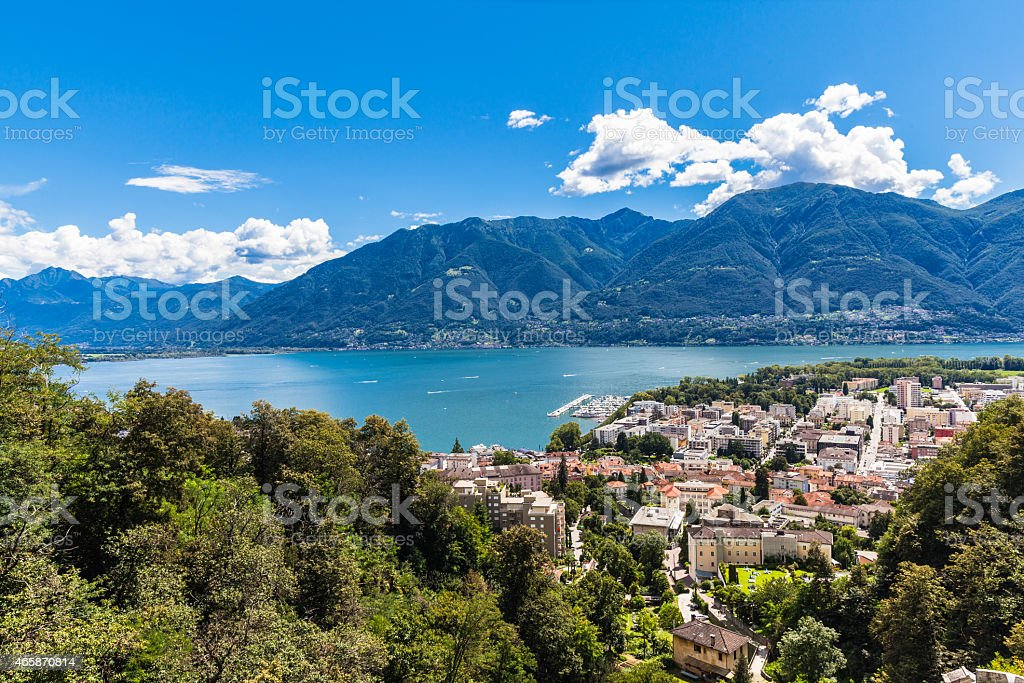 Locarno city and Mggiore lake stock photo