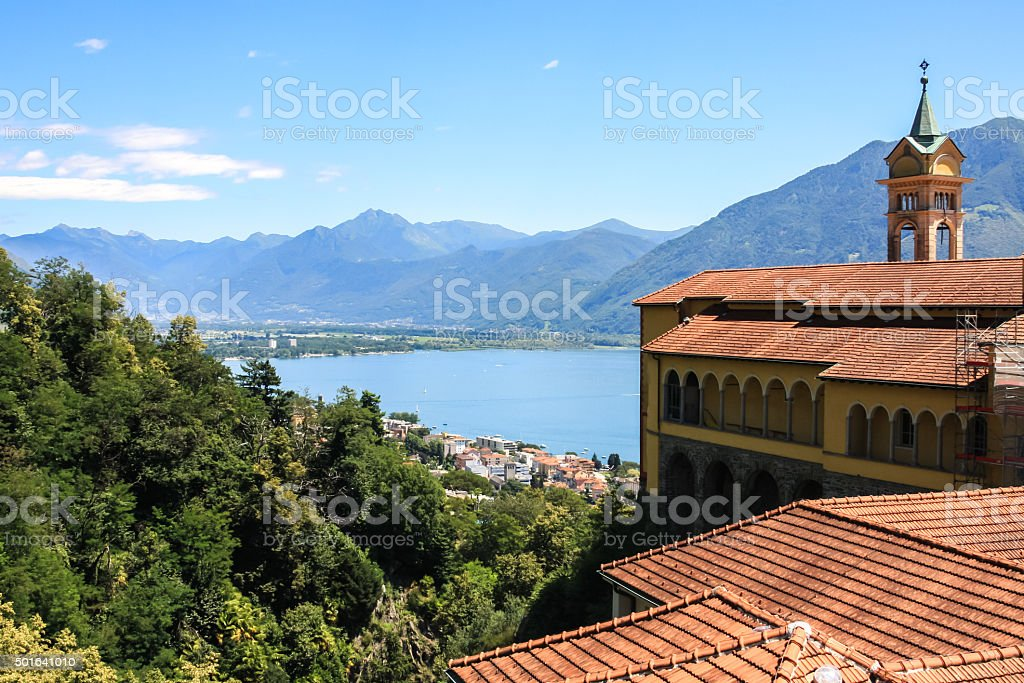 Locarno, Elevated view of Sanctuary of Madonna del Sasso stock photo