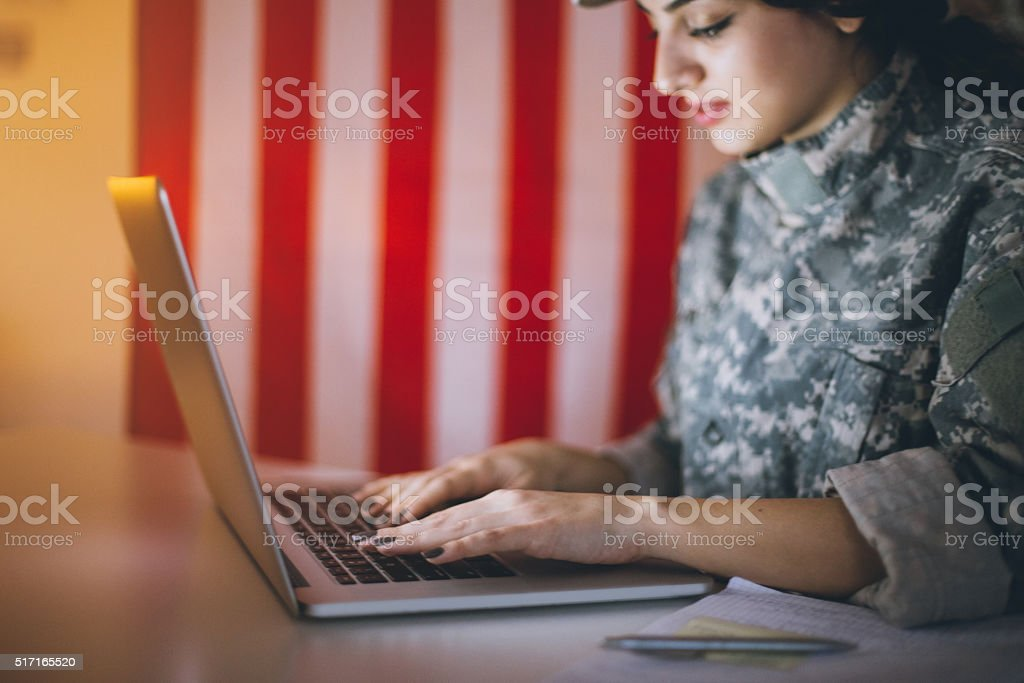 Locating targets in the army stock photo