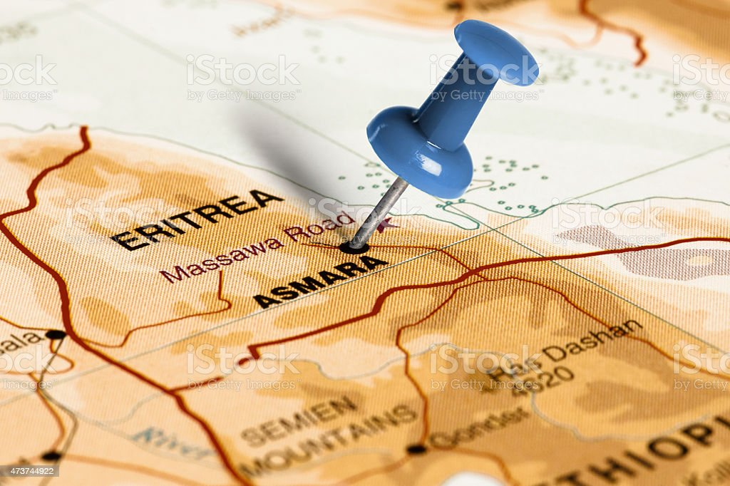Location Asmara. Blue pin on the map. stock photo