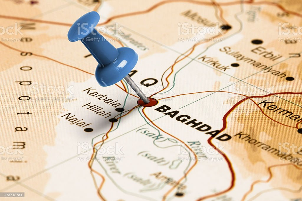 Location Baghdad. Blue pin on the map. stock photo