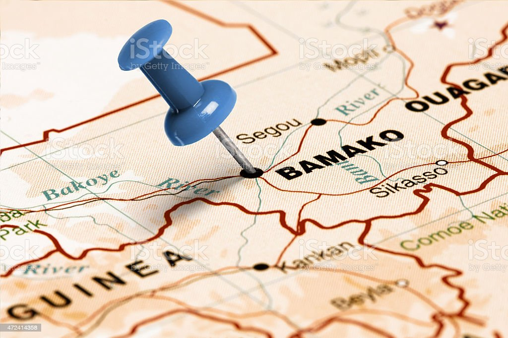 Location Bamako. Blue pin on the map. stock photo