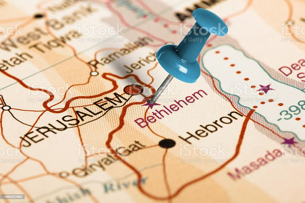 Location Bethlehem. Blue pin on the map. stock photo