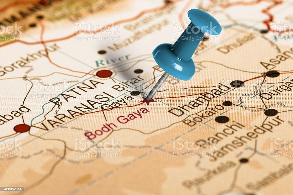 Location Bodh Gaya. Blue pin on the map. stock photo