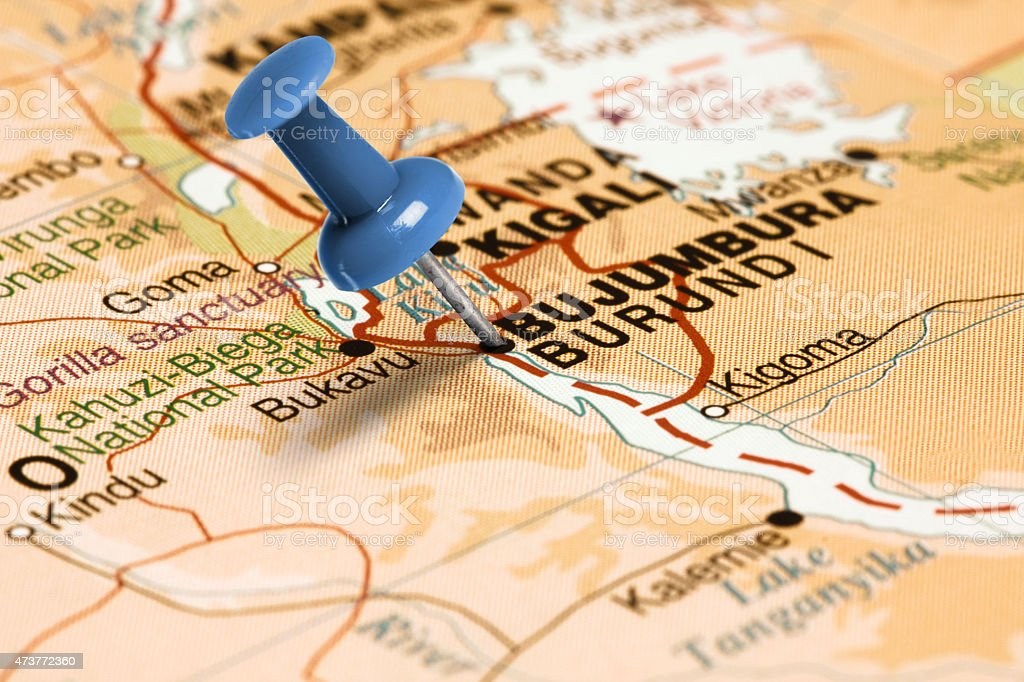 Location Bujumbura. Blue pin on the map. stock photo