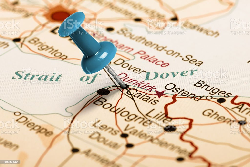 Location Calais. Blue pin on the map. stock photo