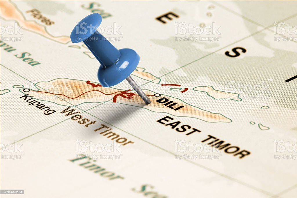 Location East Timor. Blue pin on the map. stock photo