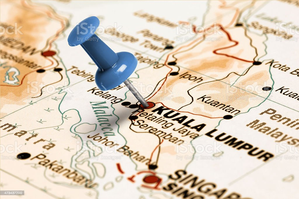 Location Kuala Lumpur. Blue pin on the map. stock photo