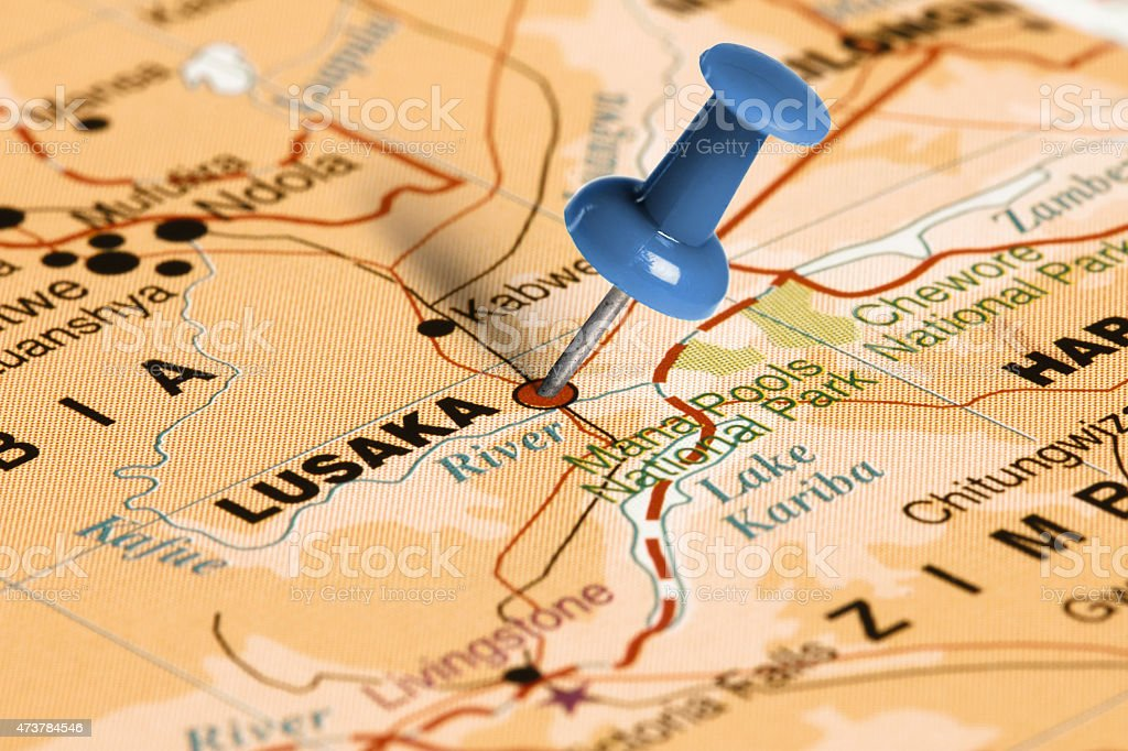 Location Lusaka. Blue pin on the map. stock photo