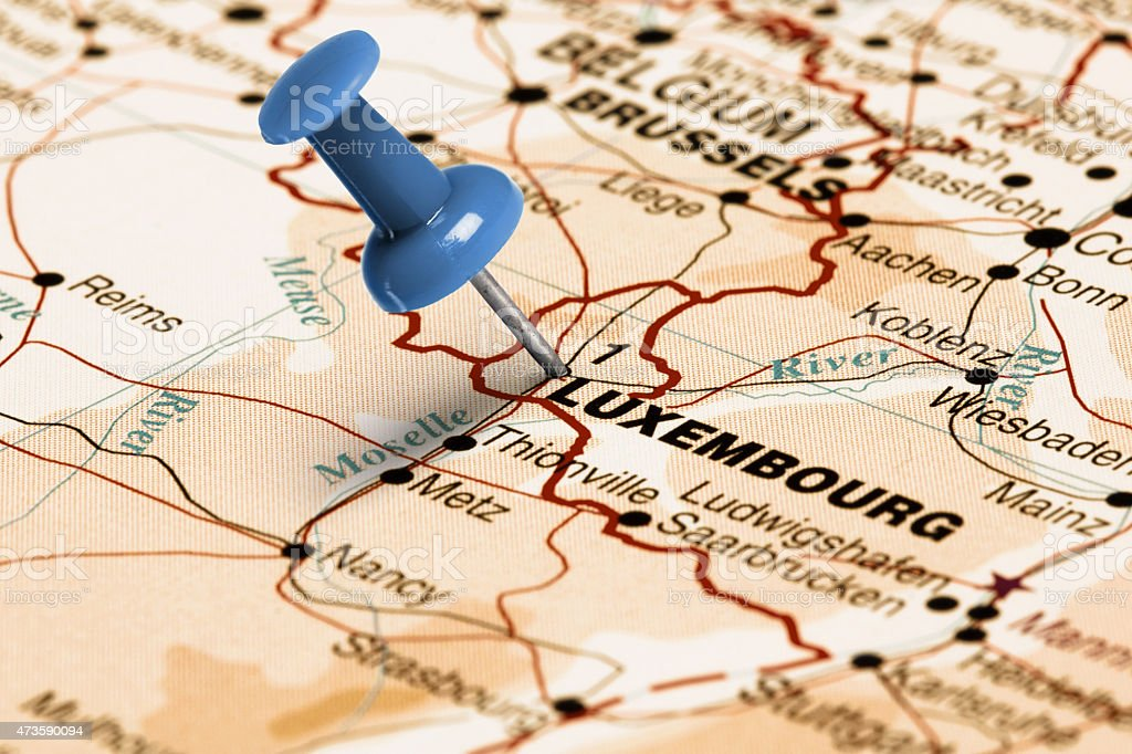 Location Luxembourg. Blue pin on the map. stock photo
