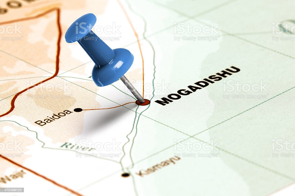 Location Mogadishu. Blue pin on the map. stock photo