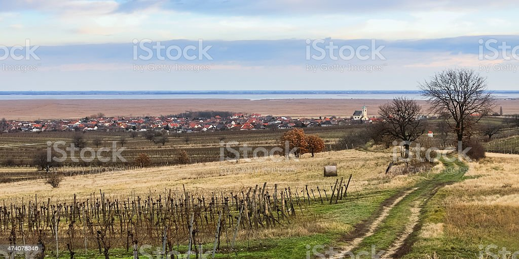 Location Oggau on the shore of Lake Neusiedl stock photo