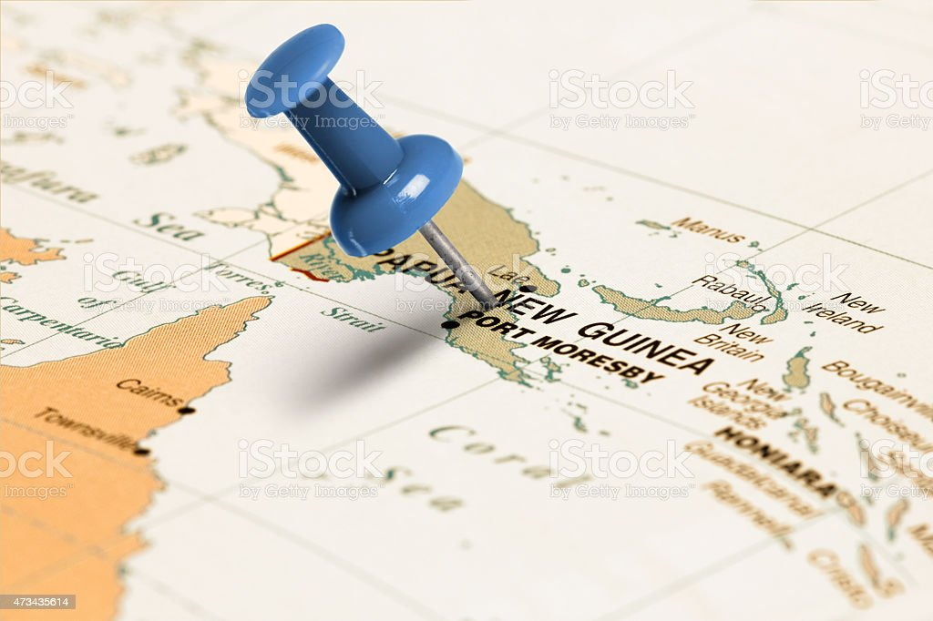 Location Papua New Guinea. Blue pin on the map. stock photo
